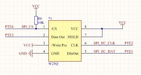 k60外接spi flash硬件电路图,采用的是spi1,片选pte6;   spi相对于sd