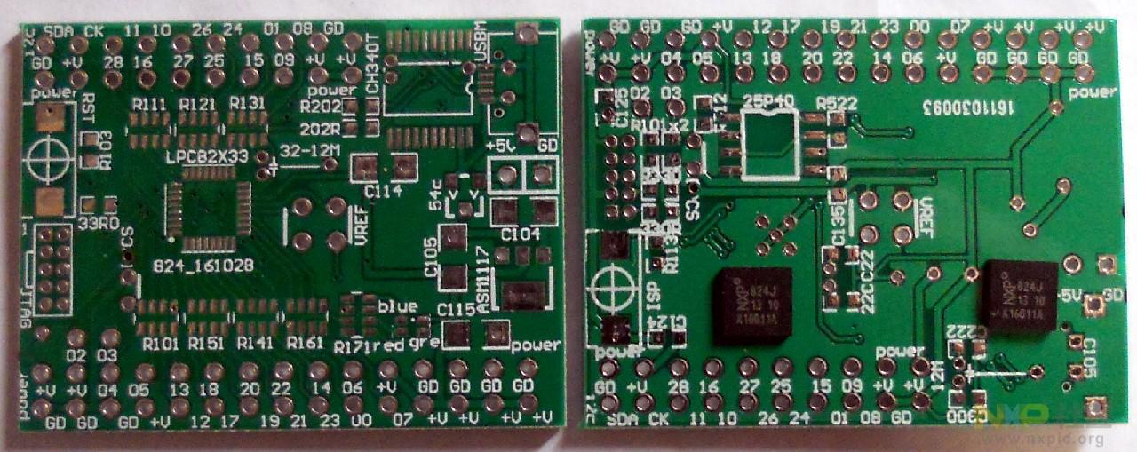 内容如题。 前一段时间实验LPC824,感觉其交叉开关[以前接触其他芯片这样叫法,本站称之为矩阵开关]实在是不错,尽管速度不是很满意,但灵活的IO口的的选设和在MBED下有着非常简单可用的开发使得动了自己设计板子的恻隐之心,于是乎设计了一块。板子的特点: 1. 小体积,全部长30mmx20mm,所有管脚连接8P4R电阻以保护; 2.
